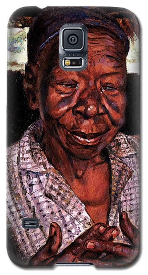 Black Woman Galaxy S5 Case featuring the painting Woman Of Faith by John Lautermilch