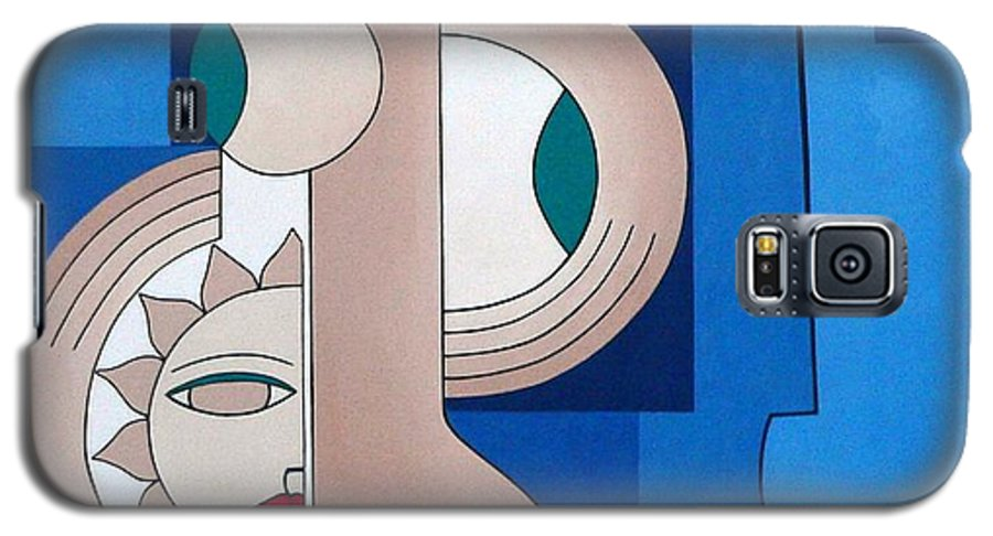 Women Bips Bleu Modern Galaxy S5 Case featuring the painting Women And Questions by Hildegarde Handsaeme