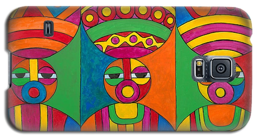 Abstract Galaxy S5 Case featuring the painting Women With Calabashes by Emeka Okoro