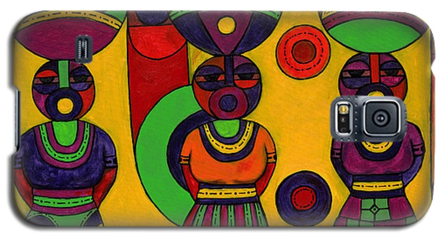 Women Galaxy S5 Case featuring the painting Women With Calabashes II by Emeka Okoro