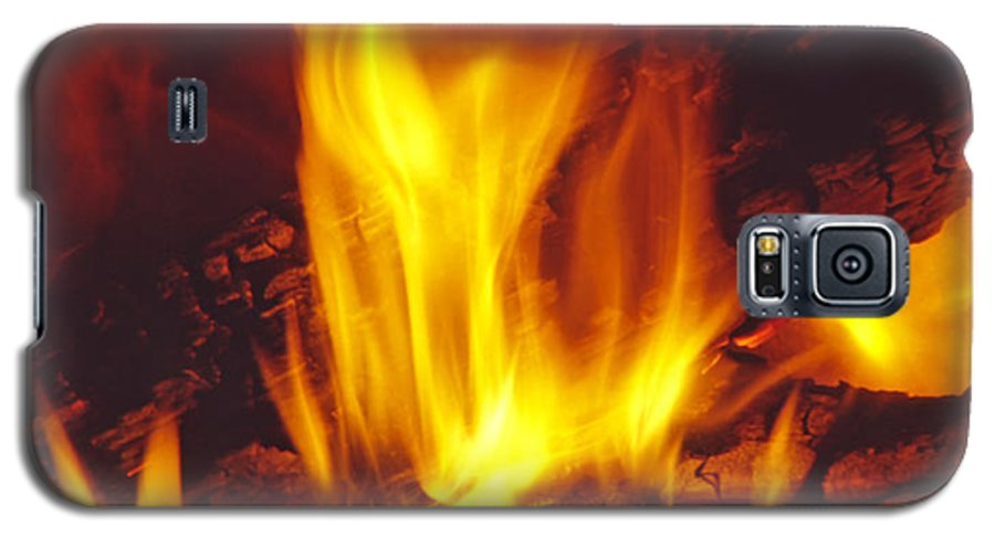 Fire Galaxy S5 Case featuring the photograph Wood Stove - Blazing Log Fire by Steve Ohlsen