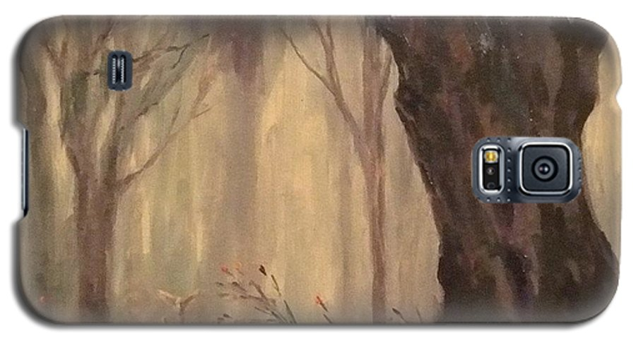 Landscape Galaxy S5 Case featuring the painting Woodland Fawn by Ruth Stromswold
