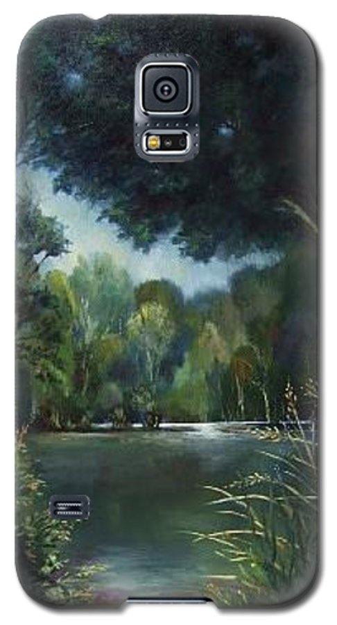 Landscape Woodland Galaxy S5 Case featuring the painting Woodland Pond by Ruth Stromswold