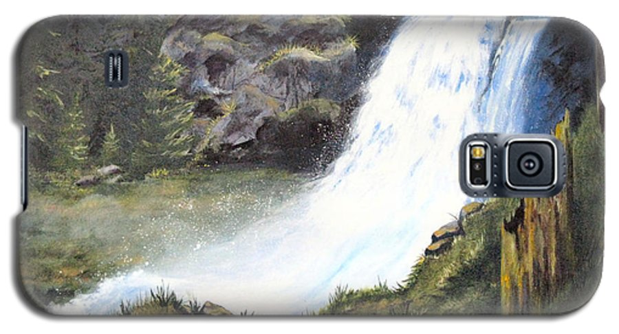 Forest Galaxy S5 Case featuring the painting Woodland Respite by Karen Stark