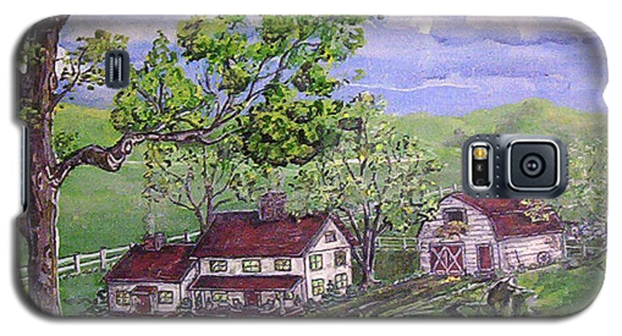 Landscape Galaxy S5 Case featuring the painting Wyoming Homestead by Phyllis Mae Richardson Fisher