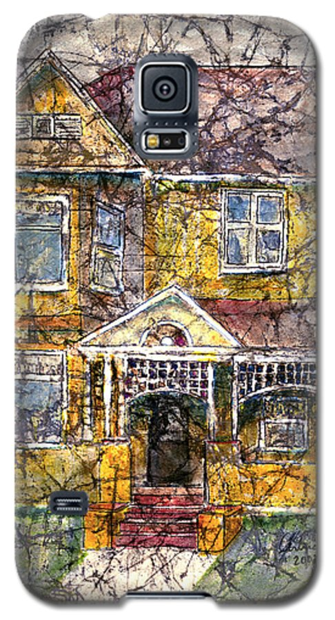 House Galaxy S5 Case featuring the mixed media Yellow Batik House by Arline Wagner