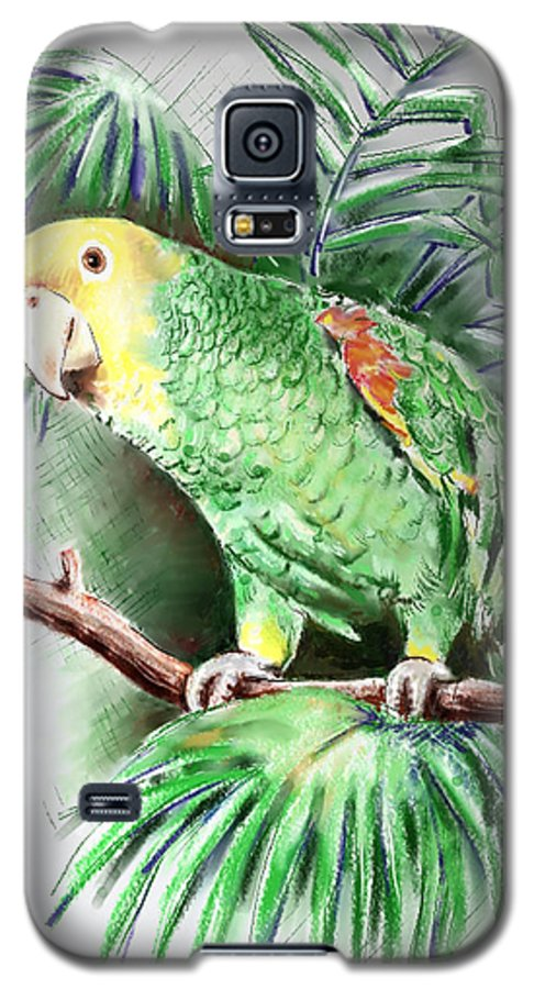 Bird Galaxy S5 Case featuring the digital art Yellow-headed Amazon Parrot by Arline Wagner