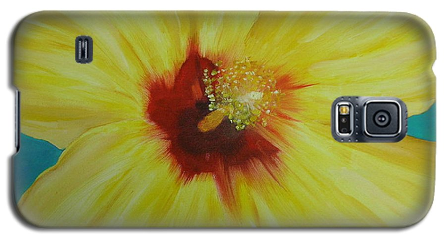 Flower Galaxy S5 Case featuring the print Yellow Hibiscus by Melinda Etzold
