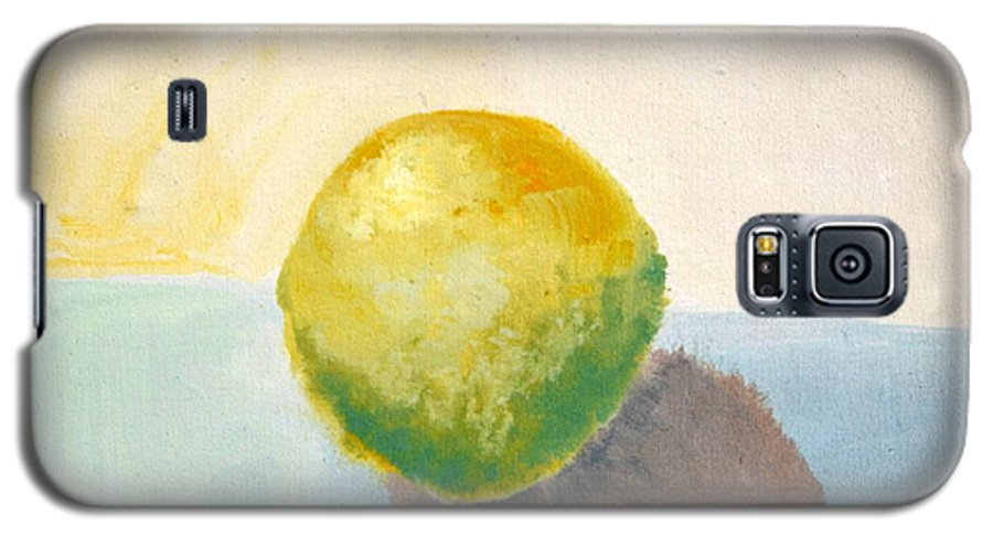 Lemon Galaxy S5 Case featuring the painting Yellow Lemon Still Life by Michelle Calkins