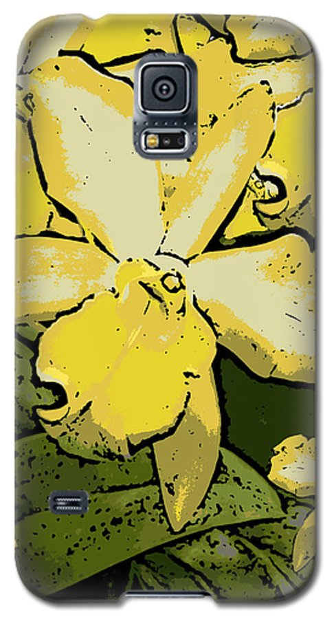 Orchid Galaxy S5 Case featuring the photograph Yellow Orchids Woodcut by Ann Tracy