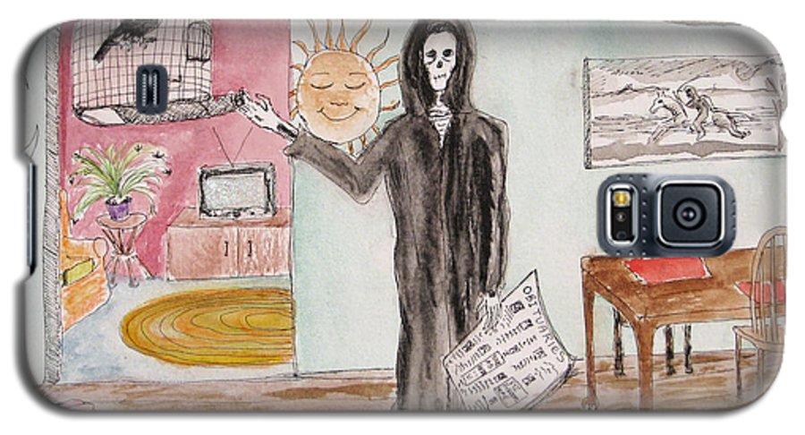 Bird Birdcage Darkestartist Death Home Humor Ink Watercolor Watercolour Darkest Artist Galaxy S5 Case featuring the painting Yesterdays News by Darkest Artist