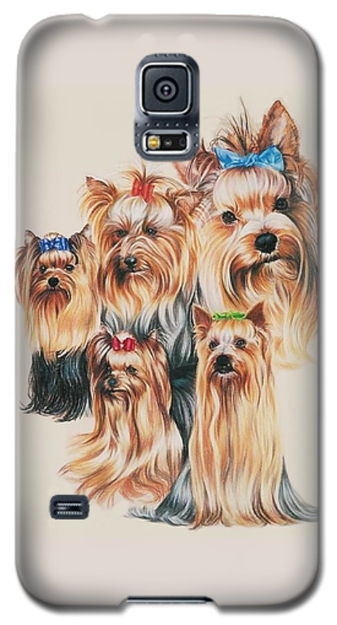 Dog Galaxy S5 Case featuring the drawing Yorkshire Terrier by Barbara Keith