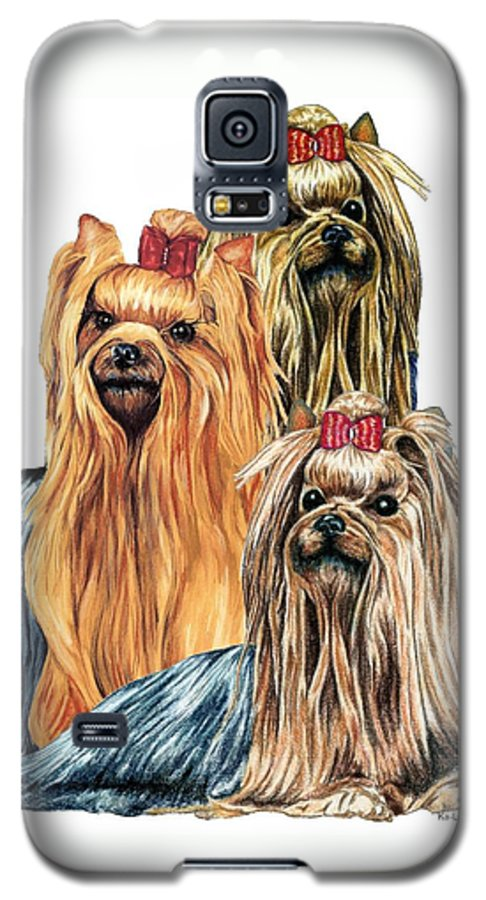 Yorkshire Terrier Galaxy S5 Case featuring the drawing Yorkshire Terriers by Kathleen Sepulveda