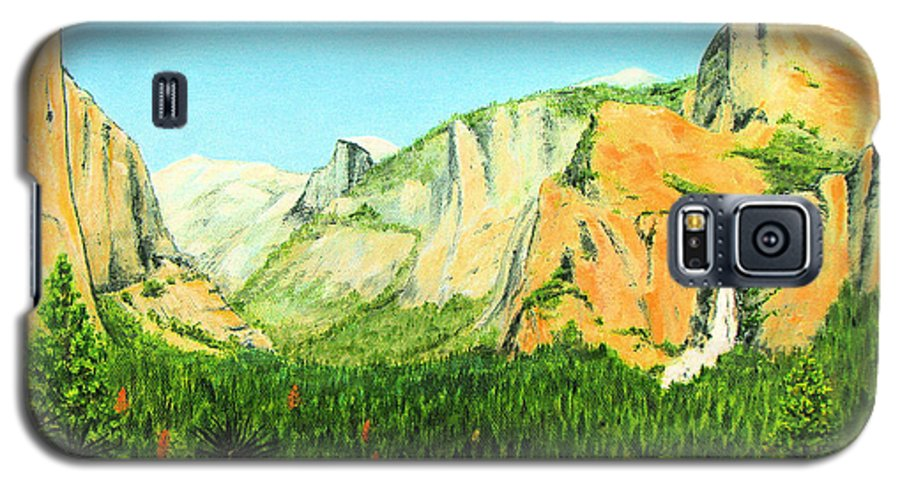 Yosemite National Park Galaxy S5 Case featuring the painting Yosemite National Park by Jerome Stumphauzer