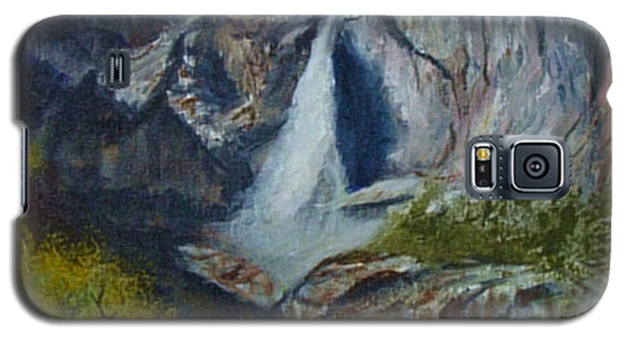 Waterfall Galaxy S5 Case featuring the painting Yosemite Waterfall by Quwatha Valentine