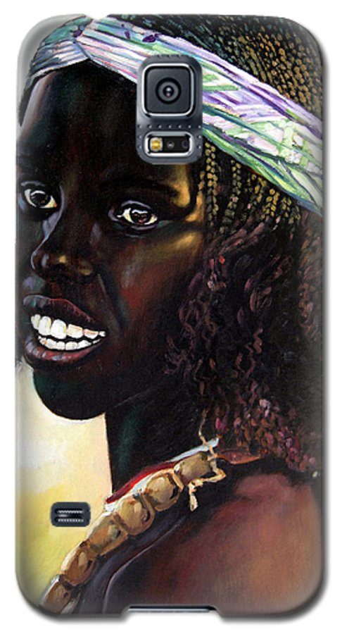 Young Black African Girl Galaxy S5 Case featuring the painting Young Black African Girl by John Lautermilch