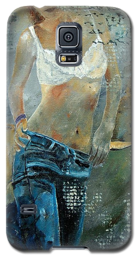Girl Galaxy S5 Case featuring the painting Young Girl In Jeans by Pol Ledent