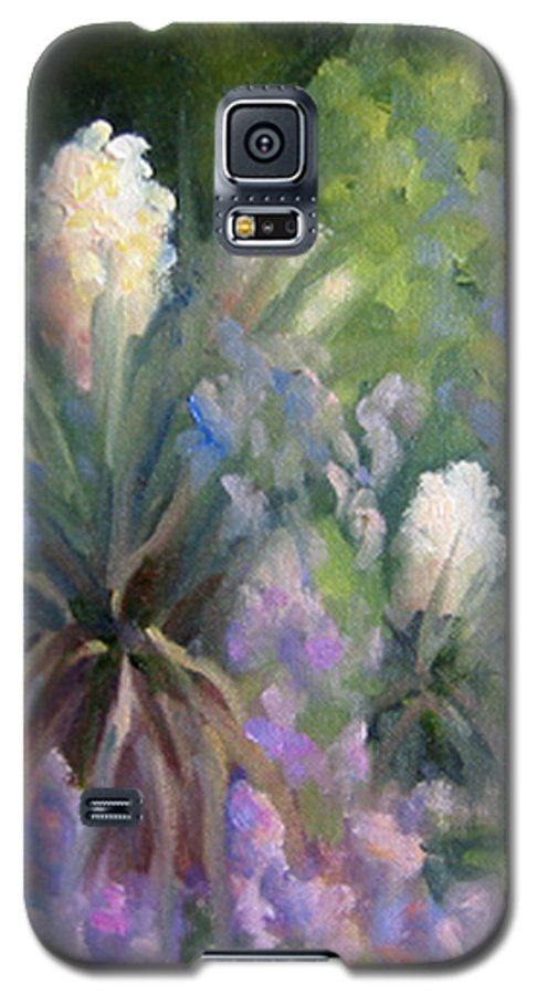 Yucca Galaxy S5 Case featuring the painting Yucca And Wisteria by Bunny Oliver