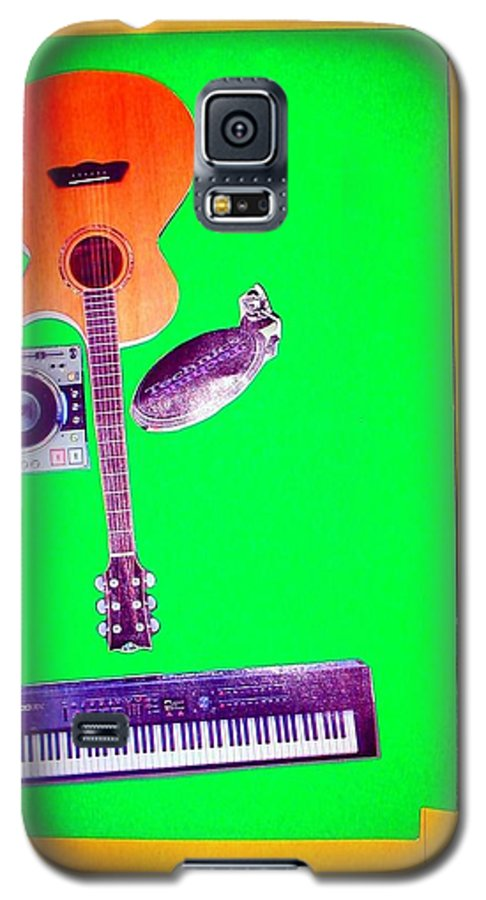 Music Galaxy S5 Case featuring the mixed media Yvie's Music Mask by Debra Bretton Robinson