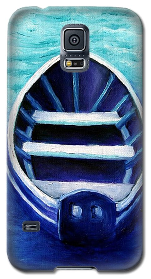 Boat Galaxy S5 Case featuring the painting Zen Boat by Minaz Jantz