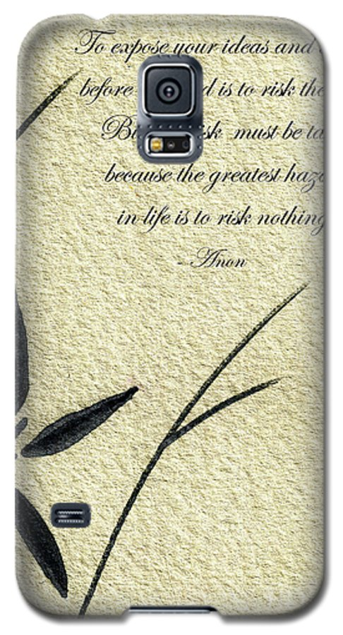 Abstract Galaxy S5 Case featuring the mixed media Zen Sumi 4n Antique Motivational Flower Ink On Watercolor Paper By Ricardos by Ricardos Creations