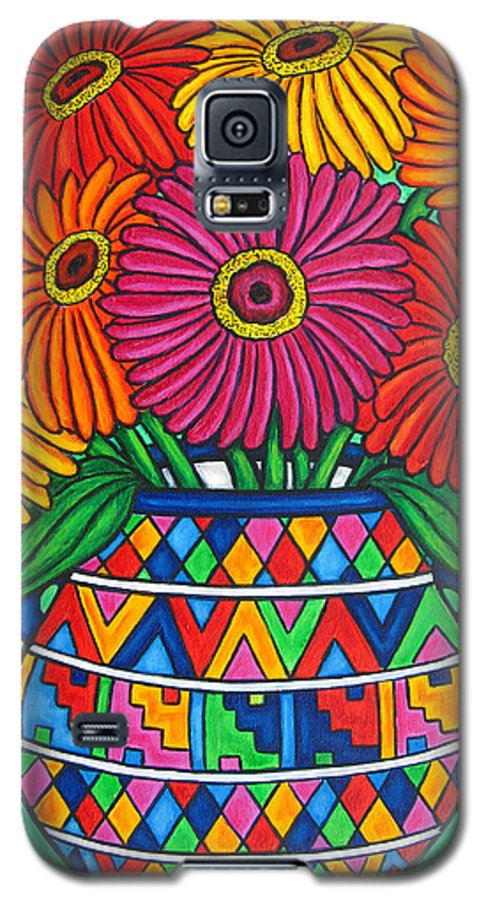 Zinnia Galaxy S5 Case featuring the painting Zinnia Fiesta by Lisa Lorenz
