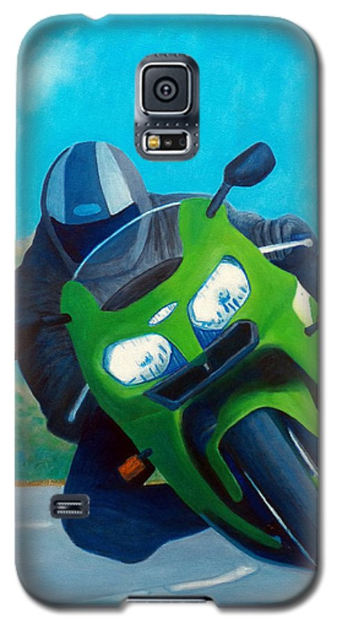 Motorcycle Galaxy S5 Case featuring the painting Zx9 - California Dreaming by Brian Commerford