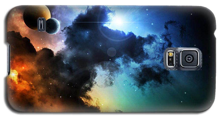 Harmony Galaxy S5 Case featuring the digital art Fantasy Deep Space Nebula With Planet by Homeart