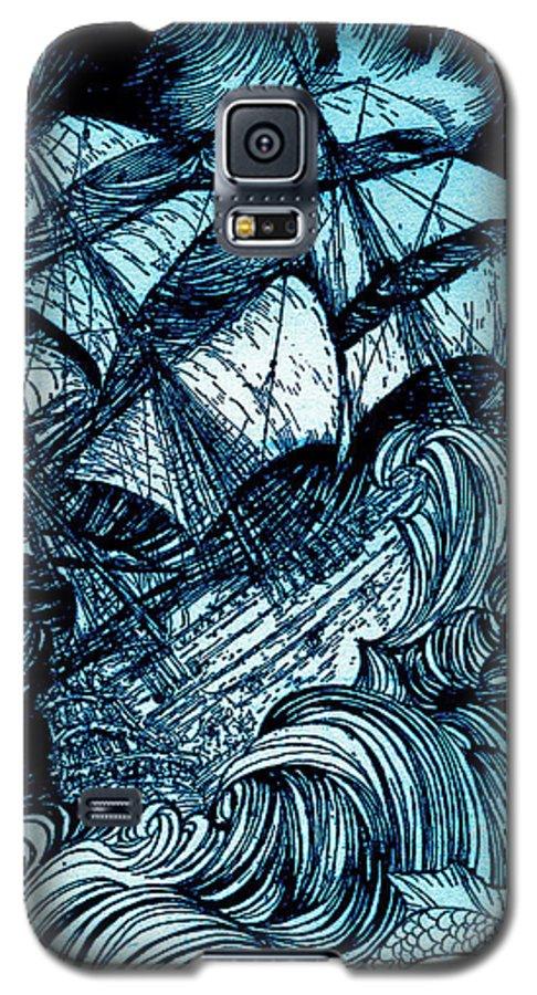 Blue Galaxy S5 Case featuring the drawing Manuscript Found In A Bottle By Edgar Allan Poe Illustration By Arthur Rackham by Arthur Rackham