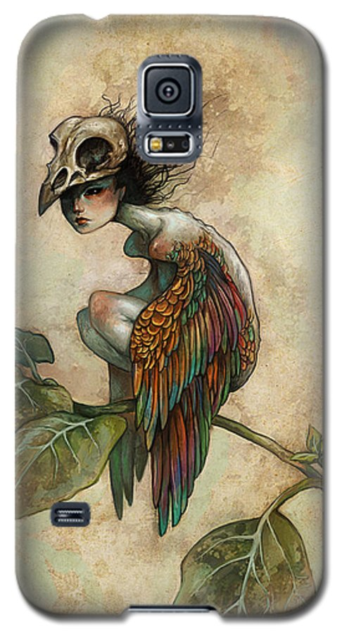 Bird Galaxy S5 Case featuring the painting Soul Of A Bird by Caroline Jamhour