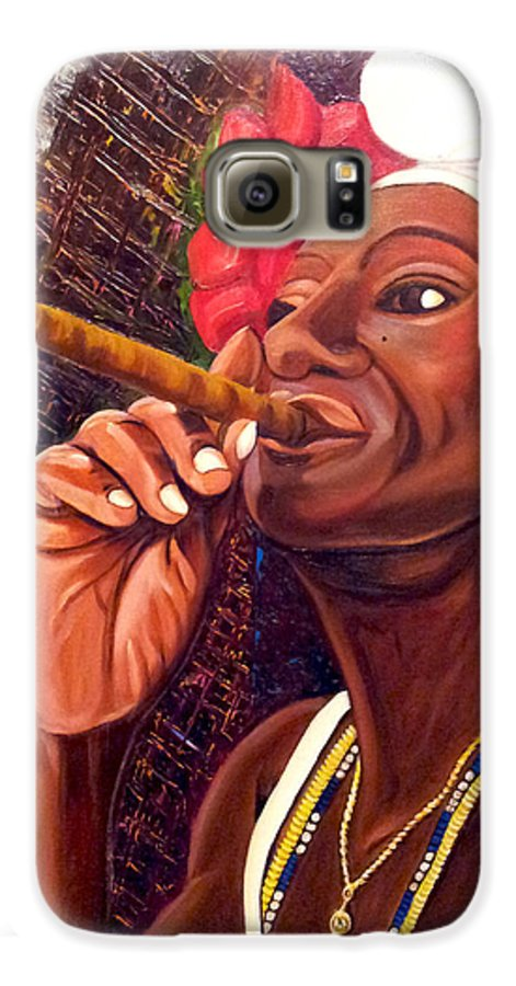 Cuban Art Galaxy S6 Case featuring the painting  Cigar Lady by Jose Manuel Abraham