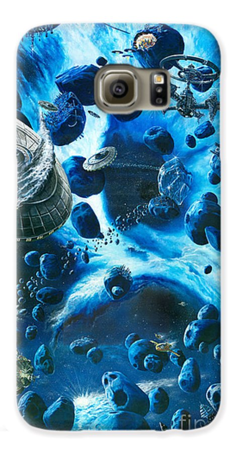 Asteroid Galaxy S6 Case featuring the painting Alien Pirates by Murphy Elliott