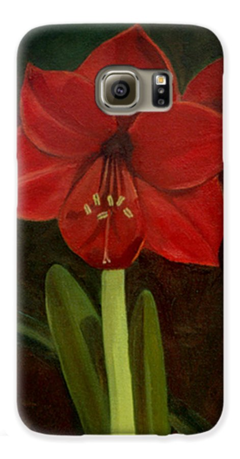 Amaryllis Galaxy S6 Case featuring the painting Amaryllis by Nancy Griswold
