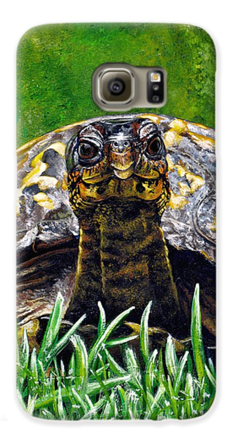 Turtle Galaxy S6 Case featuring the painting Smile by Cara Bevan