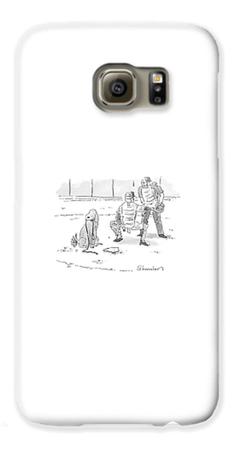 Sports Pets Dogs Baseball Homeplate Walk Galaxy S6 Case featuring the drawing New Yorker October 10th, 2005 by Danny Shanahan