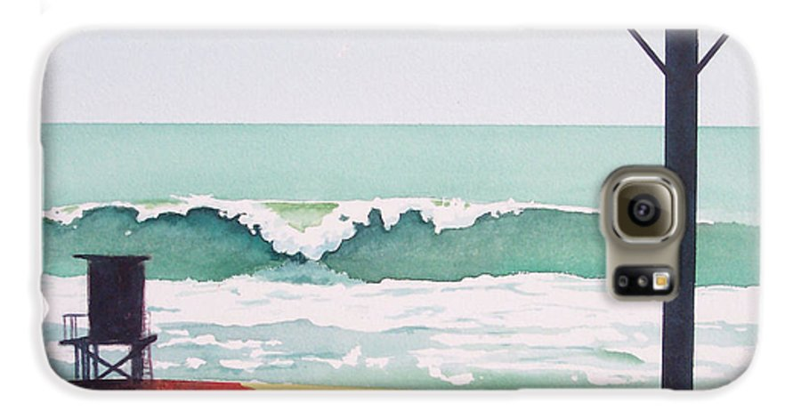 Surf Galaxy S6 Case featuring the painting 14th Street Huntington Beach by Philip Fleischer