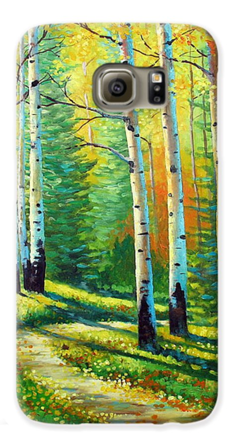 Landscape Galaxy S6 Case featuring the painting Colors Of The Season by David G Paul