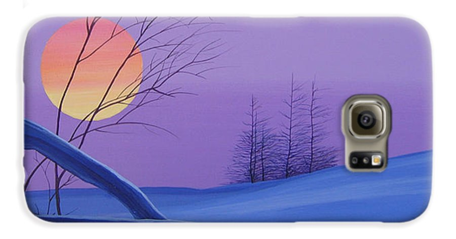 Mountains Galaxy S6 Case featuring the painting Silent Snow by Hunter Jay