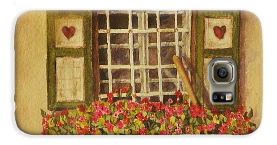 Rural Galaxy S6 Case featuring the painting Farm Window by Mary Ellen Mueller Legault