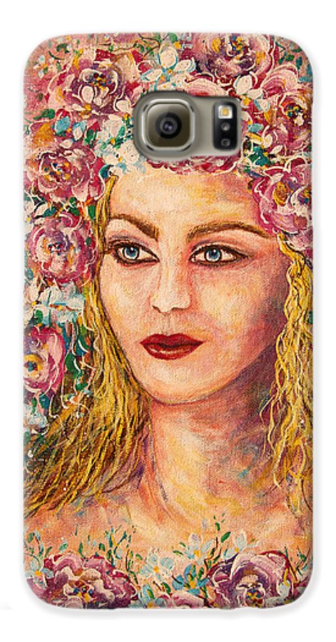 Goddess Galaxy S6 Case featuring the painting Good Fortune Goddess by Natalie Holland