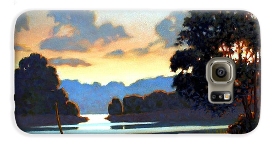Landscape Galaxy S6 Case featuring the painting Grassy Point by Kevin Lawrence Leveque