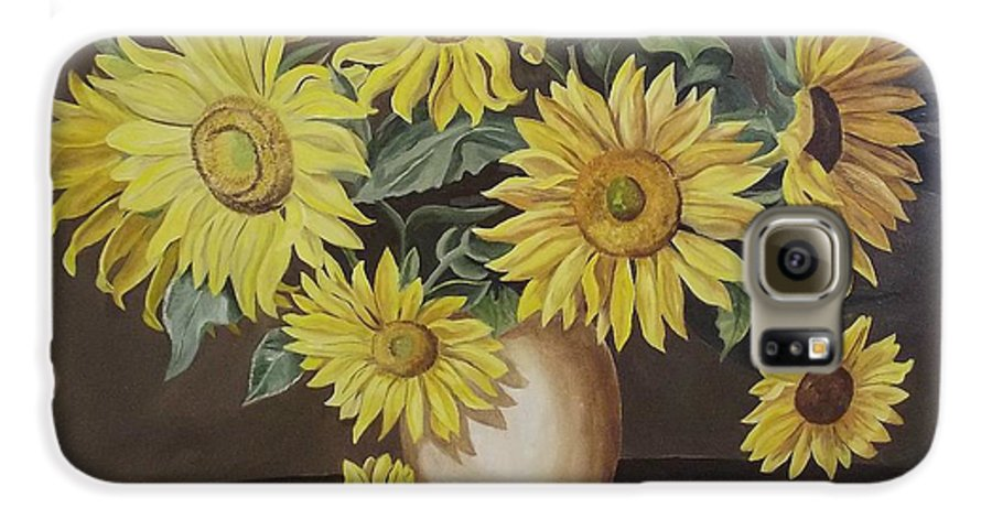 Flowers Galaxy S6 Case featuring the painting Sunshine And Sunflowers by Wanda Dansereau