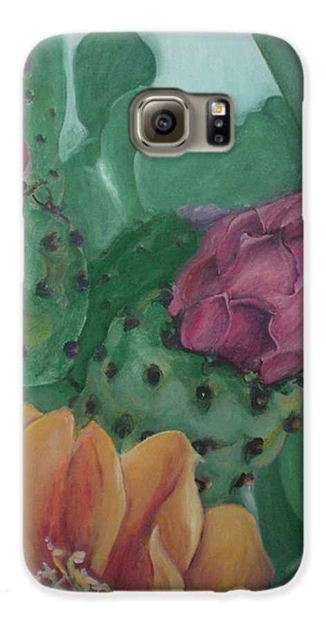 Yellow Galaxy S6 Case featuring the painting Yellow Cactus Blossom by Aleksandra Buha