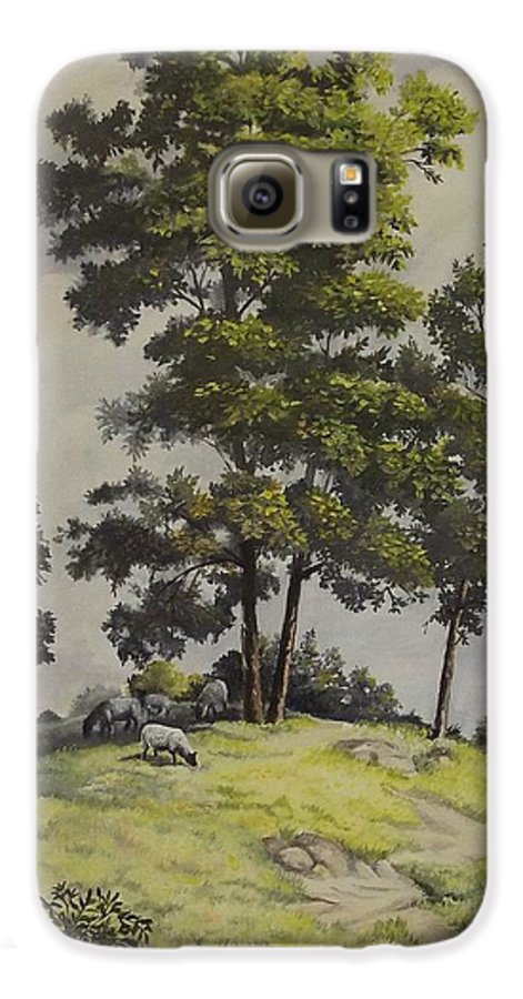 Landscape Galaxy S6 Case featuring the painting A Lazy Day For Grazing by Wanda Dansereau