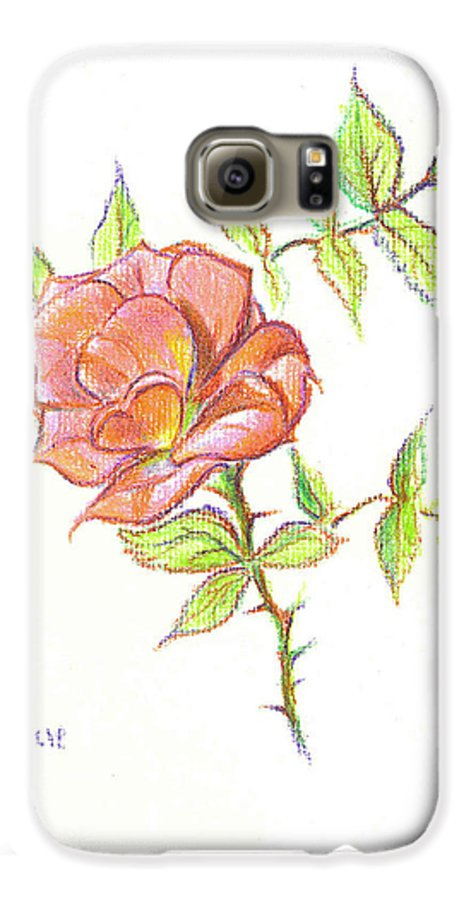 A Rose In Brigadoon Galaxy S6 Case featuring the drawing A Rose In Brigadoon by Kip DeVore