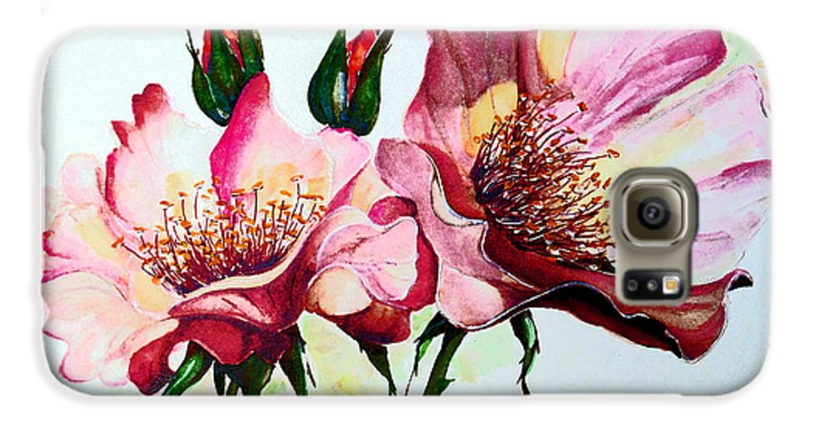 Flower Painting Galaxy S6 Case featuring the painting A Rose Is A Rose by Karin Dawn Kelshall- Best