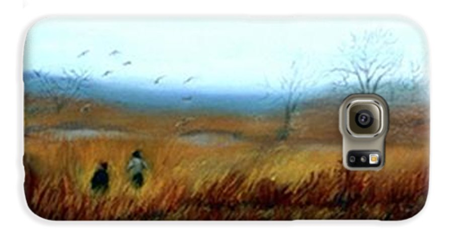 Figures Galaxy S6 Case featuring the painting A Winter Walk by Gail Kirtz