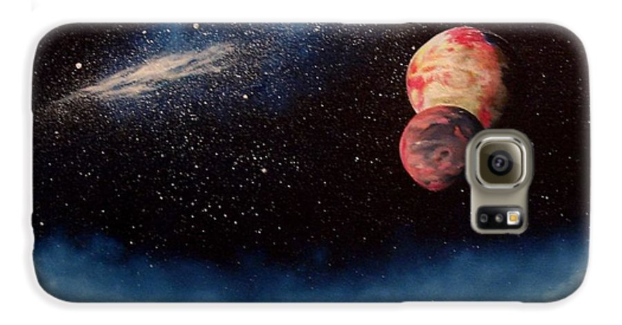 Landscape Galaxy S6 Case featuring the painting Above Alien Clouds by Murphy Elliott