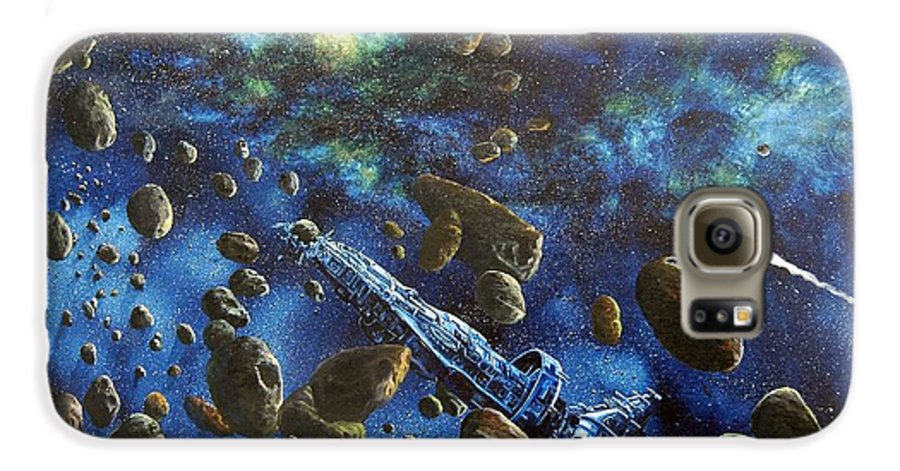 Astro Galaxy S6 Case featuring the painting Accidental Asteroid by Murphy Elliott