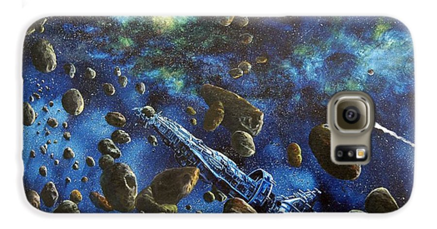 Canvas Galaxy S6 Case featuring the painting Accidental Asteroid by Murphy Elliott